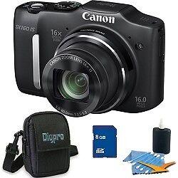 Canon Powershot SX160 IS 16MP 16x Zoom Black Digital Camera 8GB Bundle in Cameras & Photo, Digital Cameras | eBay