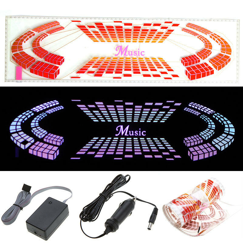 Car Sticker Music Rhythm LED El Light Lamp Sound Activated Equalizer 90 25cm