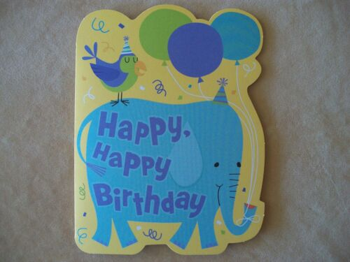 """Carlton Cards Childs Elephant Birthday Card With Yellow Envelope, 61/2"""" X 5"""" NEW in Home & Garden, Holidays, Cards & Party Supply, Cards & Stationery 