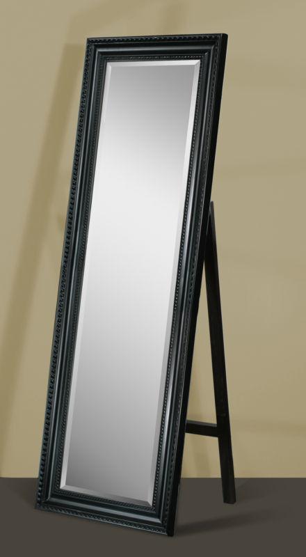 Black Framed Full Length Beveled Floor Mirror with Stand 8806