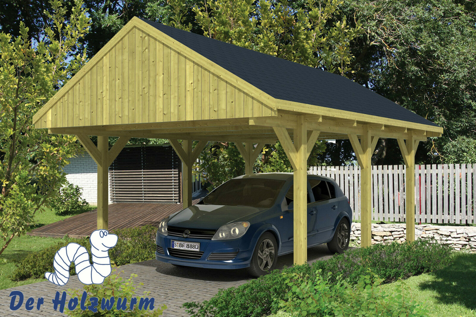 carport satteldach 400x600cm holz unterstand 12 x 12cm pfosten einzelcarport neu ebay. Black Bedroom Furniture Sets. Home Design Ideas