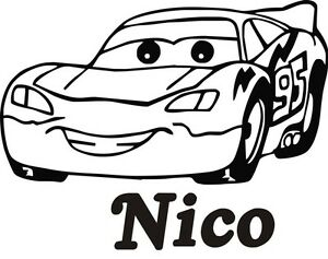Cars wunschname autoaufkleber t rschild kinderzimmer auto - Wandtattoo cars ...