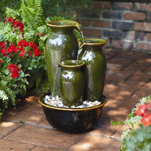 Cascade Vase Fountain Outdoor Vintage Garden Water Resin