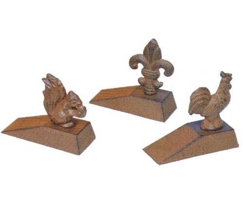 Rustic cast iron door stop fleur de lys lis squirrel or cockerel wedge doorstop ebay - Cast iron squirrel door stop ...