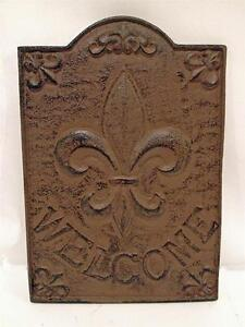 Cast iron welcome fleur de lis plaque sign wall decor ebay - Plaque de decoration ...