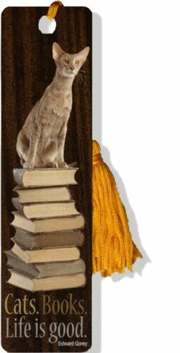 """Cats. Books. Life is Good"" bookmark with tassel in Books, Accessories, Bookmarks 