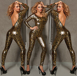 Catsuit-Overall-Wet-Look-fetisch-Domina-Lack-Latex-Look-S-M-36-38-Leopard-Kostuem