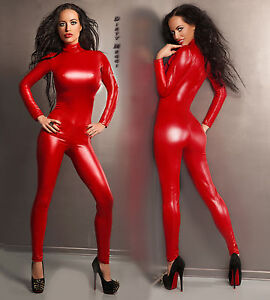 Catsuit-Overall-Wet-Look-fetisch-Domina-Lack-Latex-Look-S-M-36-38-fetish-Body