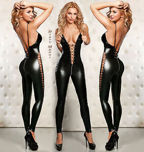 Catsuit-Overall-Wetlook-fetisch-Domina-schwarz-S-M-36-38-Lack-Leder-Optik-BDSM