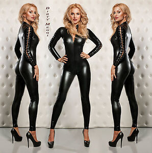 Catsuit-Overall-fetisch-Domina-schwarz-S-M-36-38-Lack-Latex-Leder-Optik-Wet-Look