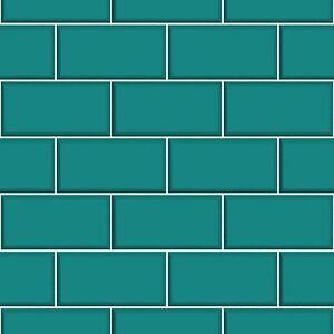 Ceramica brick tile teal kitchen and bathroom wallpaper for Teal kitchen wallpaper