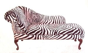 Chaise longue zebra print black off white fabric new ebay for Animal print chaise longue