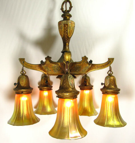 "Chandelier Vintage Signed ""Empire"" Deco Light Antique Brass Finish Nouveau in Antiques, Architectural & Garden, Chandeliers, Fixtures, Sconces 