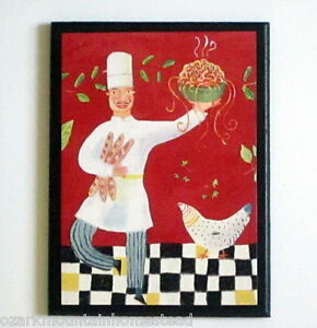 Wall Decor Plaque Silly Dancing Chefs Kitchen Sign Red Black White