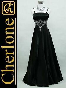 Cherlone-Plus-Size-Satin-Black-Sparkle-Ball-Gown-Wedding-Evening-Dress-UK-18-20