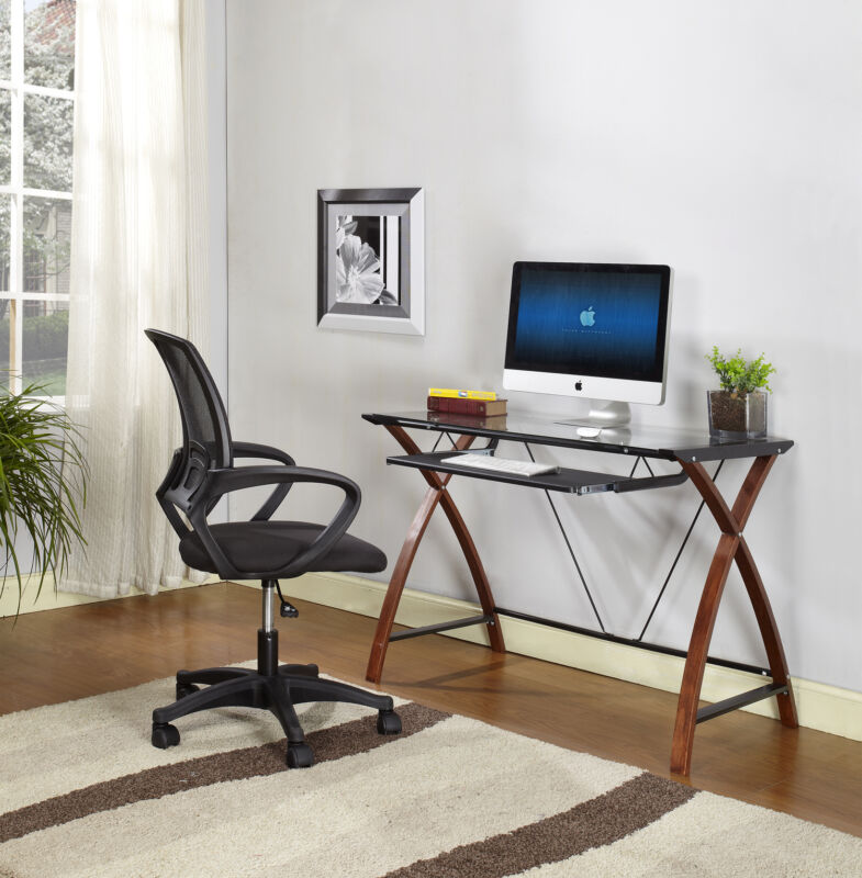 Wood Black Metal With Glass Top Workstation Computer Table / Desk