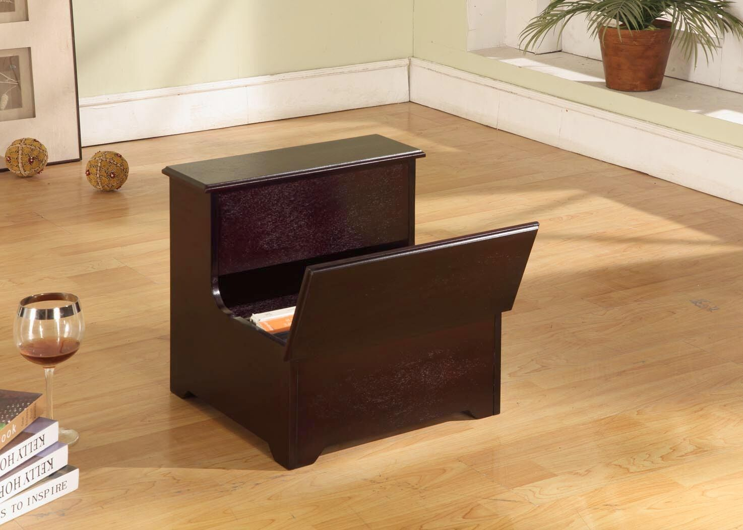 Brand Cherry Finish Wood Bed Bedroom Step Stool With Storage New