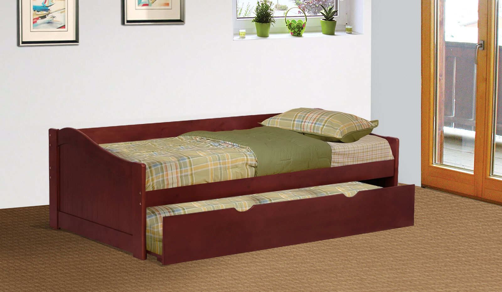 cherry finish wood twin size day bed daybed with trundle new ebay. Black Bedroom Furniture Sets. Home Design Ideas
