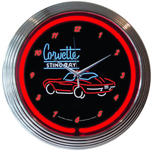 Corvette Stingray Neon Sign on Chevrolet Corvette Sr C2 Neon Clock Sign Stingray C3   Ebay