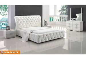 Chic Modern Design Diva White Eco-Leather Queen Size Bedroom Set