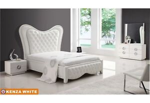 bedroom sets chic modern design kenza white eco leather