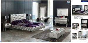 Chic Modern Lorena Silver Fabric & Lacquer Bedroom Set Contemporary Style