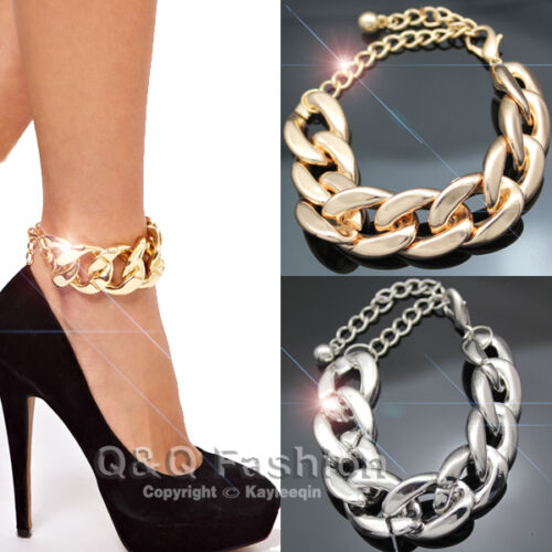 Chic Women Curb Chunky Chain Anklet Bracelet Bangle Foot Barefoot Sandal Beach