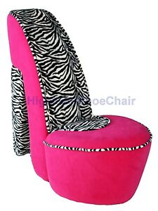 Child sized pink zebra high heel shoe chair shoechair furniture jrpz