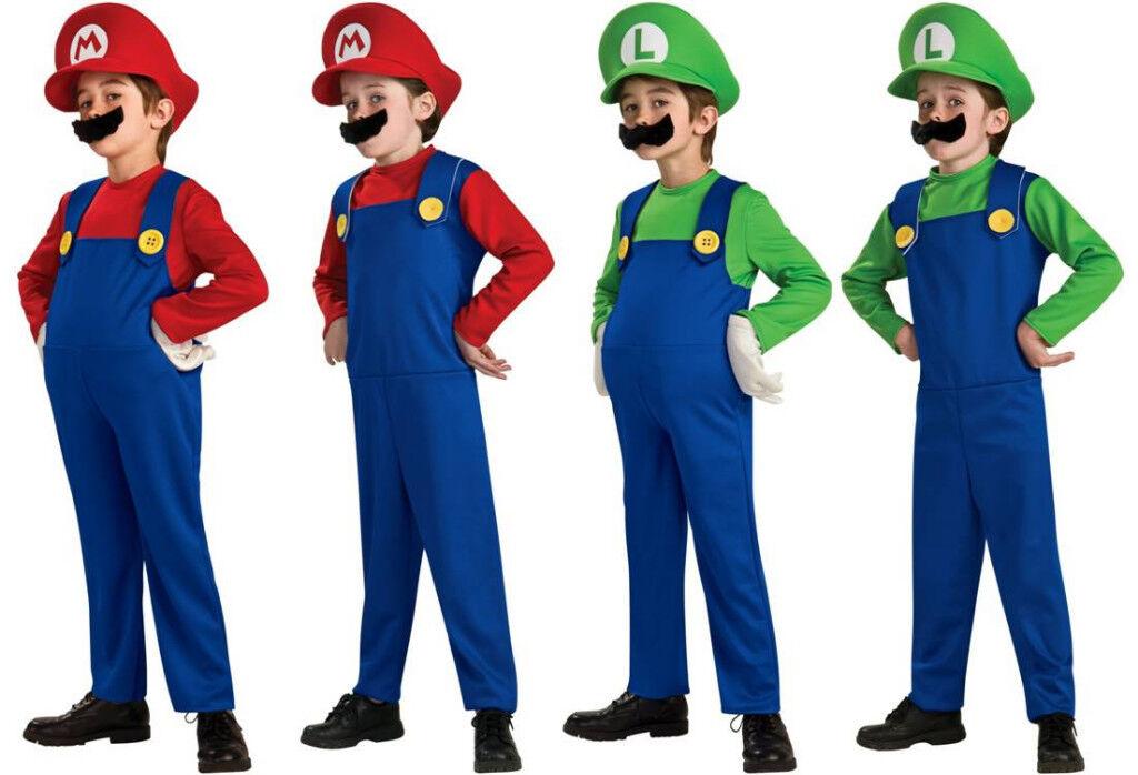Child Super Mario Bros Mario Luigi Std Deluxe Costume