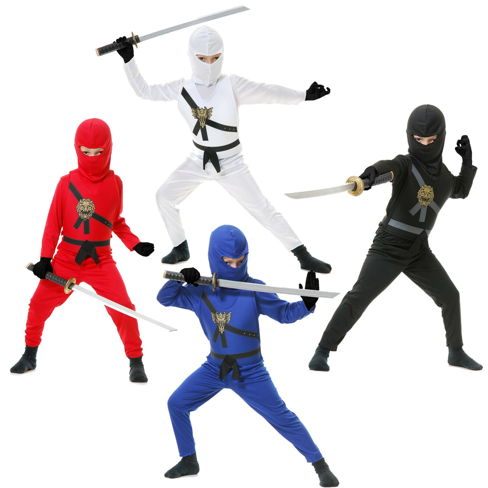Child Warrior Ninjas Red Blue Black White Ninja Assassin Suit