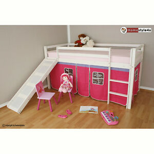 Bunk bed loft bed child mid sleeper with curtain slide new pink