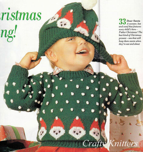 Knitting Pattern Childrens Christmas Jumper Hat Ebay