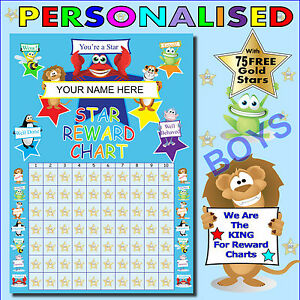 Childrens Personalised Boys Reward Chart Plus 75 Gold Metallic Stars ...