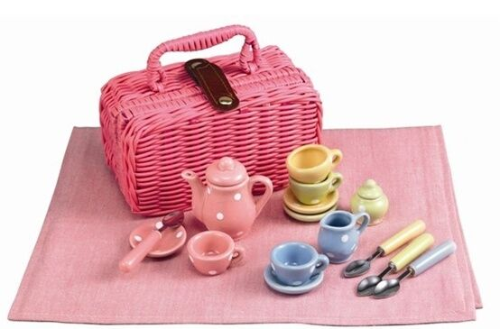 Toy Tea Sets For Boys : Childrens tin tea set new wow picnic basket pink dots