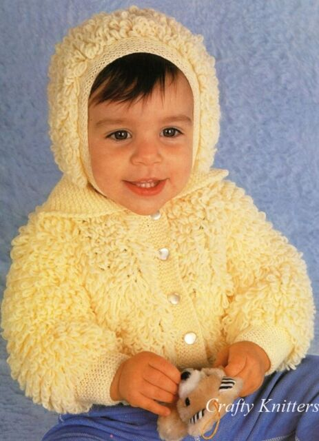 Knitting Pattern Baby Toddlers Loopy Fluffy Cardigan Bonnet Ebay