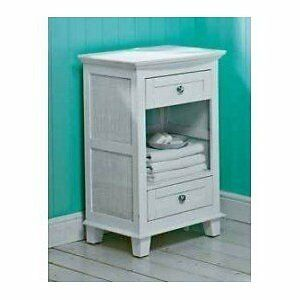 Chloe bathroom cabinet white floor standing 2 drawer cupboard assembled ebay for Bathroom floor cabinet with drawer