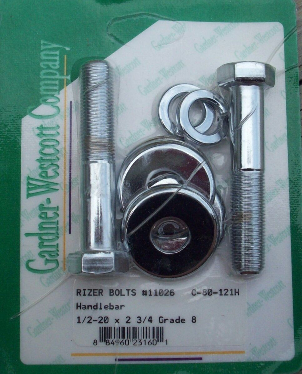 Chrome Fine Thread Riser Bolts and Washers for Harley Davidson Made in USA
