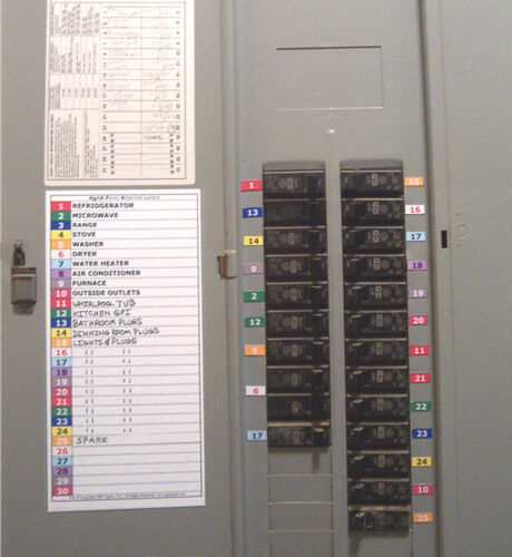 Circuit breaker panel directory labels 30 11 position for Best electrical panel for house