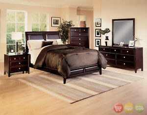Claret Queen Low Profile Upholstered Bed 5 Piece Bedroom Furniture Set B6200