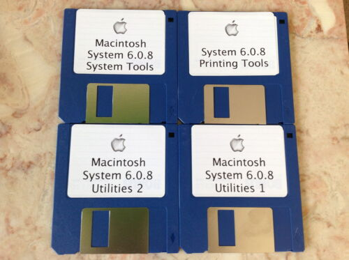 "Classic Macintosh Operating System 6.0.8 on 3.5"" 800k floppy disks, vintage OS in Computers/Tablets & Networking, Vintage Computing, Vintage Computers & Mainframes 