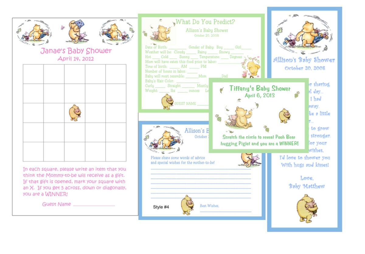 Classic Pooh Baby Shower Games Favors Pack 4