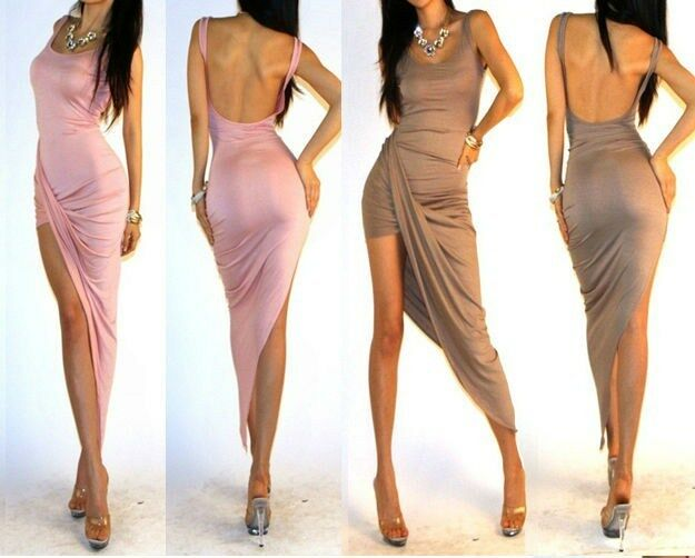 Classy Wrap Front Open Back Lightweight Jersey Knit Cocktail Party Dress S M L