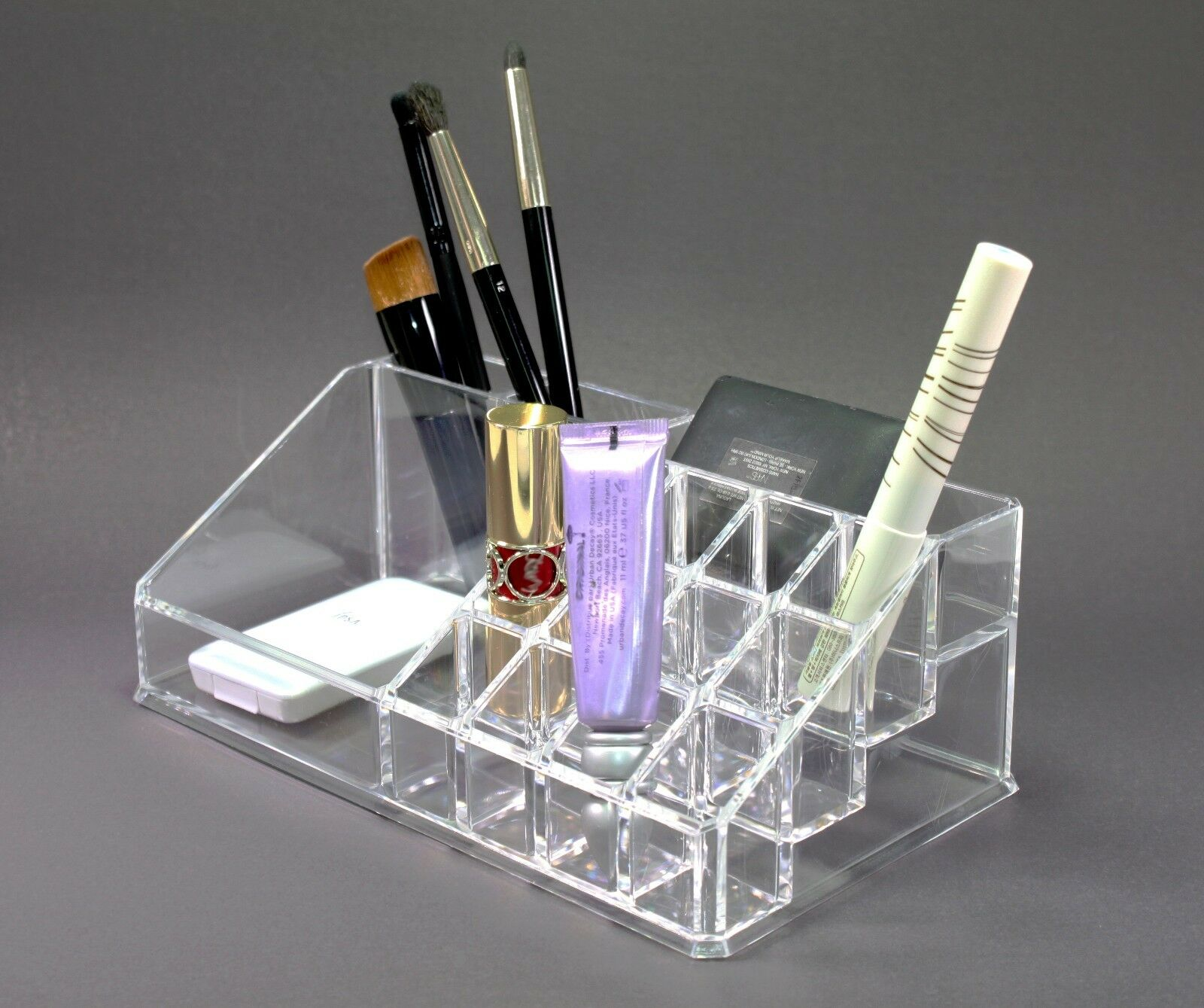clear acrylic makeup brush and cosmetic holder with 16 compartments us seller. Black Bedroom Furniture Sets. Home Design Ideas