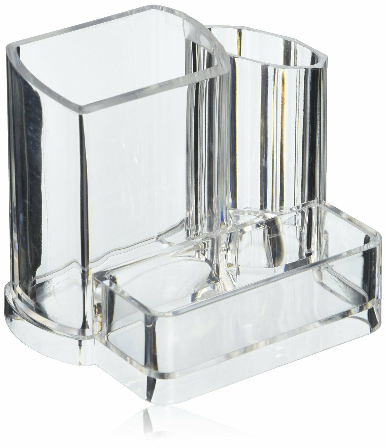 clear acrylic makeup brush and cosmetic holder with 3 compartments us seller ebay. Black Bedroom Furniture Sets. Home Design Ideas