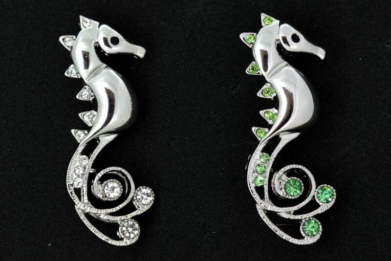 Clear, Green Swarovski Crystal Sea Horse Pin Brooch