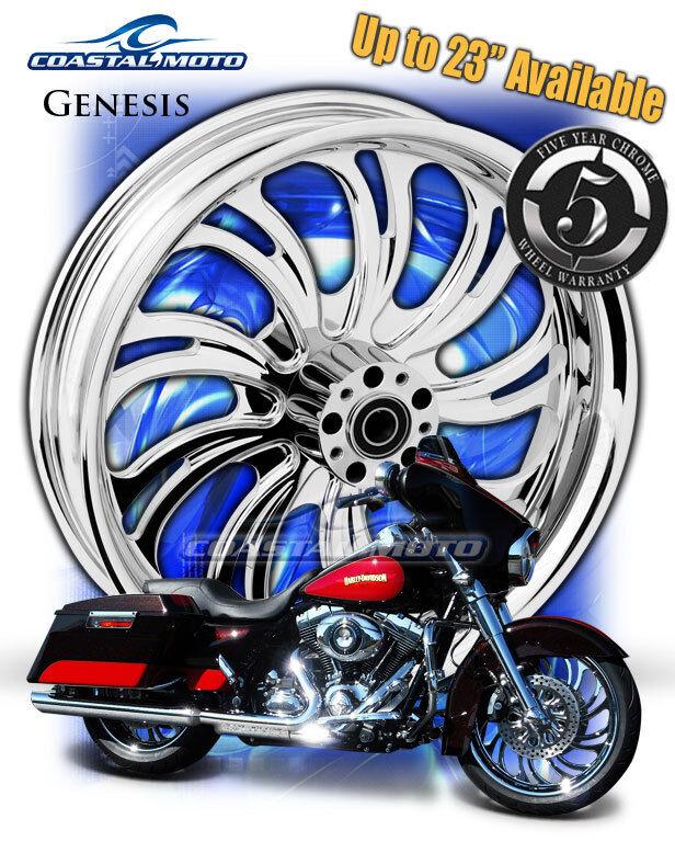 "Coastal Moto Genesis Chrome Motorcycle Wheel 21"" Harley Front Package w Tire PM"