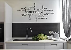 Coffee Kitchen Wall Quote Stickers Cafe Vinyl Art Decals Decor DIY