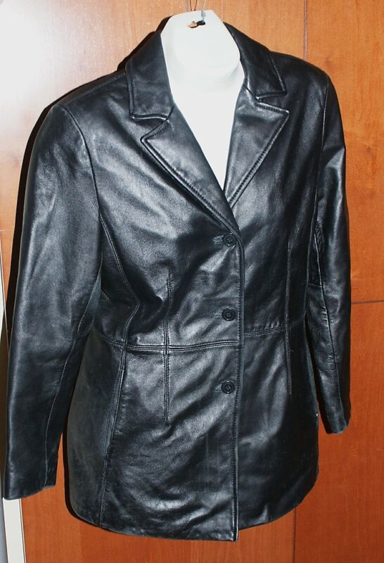 Colebrook and Co Leather Jacket Sz MM Deep Black