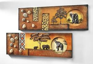 collage afrika elefant 2er set wandbild wanddeko wandschmuck bilder bild deko ebay. Black Bedroom Furniture Sets. Home Design Ideas