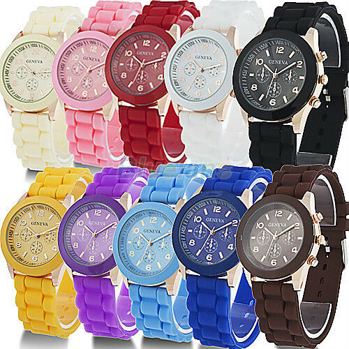 Colorful Unisex Geneva Silicone Jelly Gel Quartz Analog Sports Wrist Watch